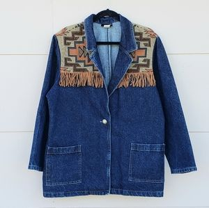 Vintage Roughrider fringe tapestry denim jacket